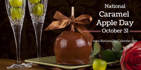 National Caramel Apple Day October 31.  Image Credit:  http://stickyfingersapples.com/shop/gourmet-apples/double-dunked-caramel/