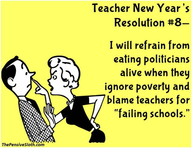 Teacher Humor from The Pensive Sloth Top Teacher New Year Resolutions