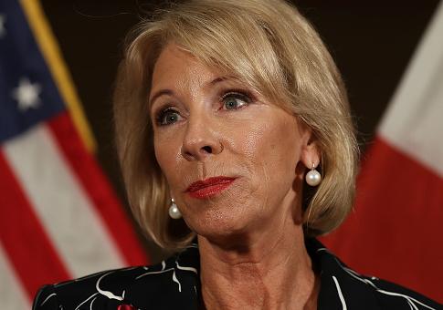 U.S. Education Secretary Betsy DeVos Speaks To Media After Visiting Students At Marjory Stoneman Douglas High School